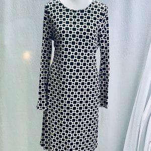 Banana Republic Black White Geo-Print Dress, Sz 10